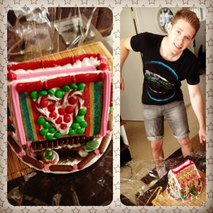 Adam ready to smash our gingerbread house!